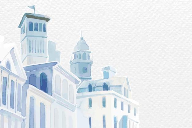 Vector de borde con edificios arquitectónicos mediterráneos en acuarela sobre fondo de textura de papel blanco