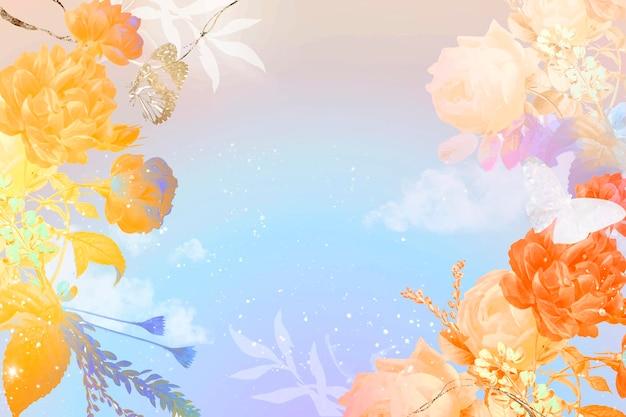 Vector de borde estético de fondo de flores, remezclado de imágenes de dominio público vintage