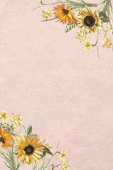 Vector de borde floral con girasol acuarela sobre fondo rosa