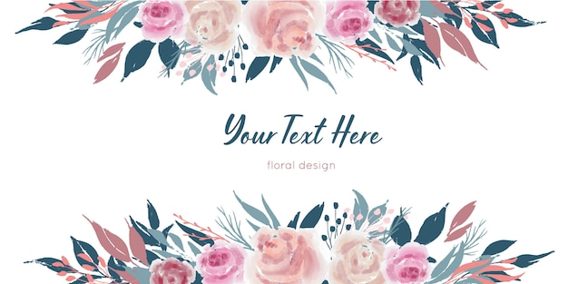 Vector bordes florales con flores rosas y hojas azules