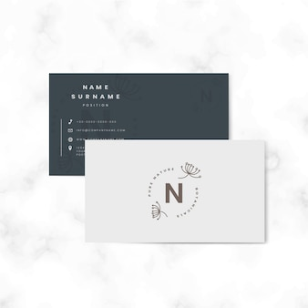 Vector botánico de dos caras tarjeta de nombre