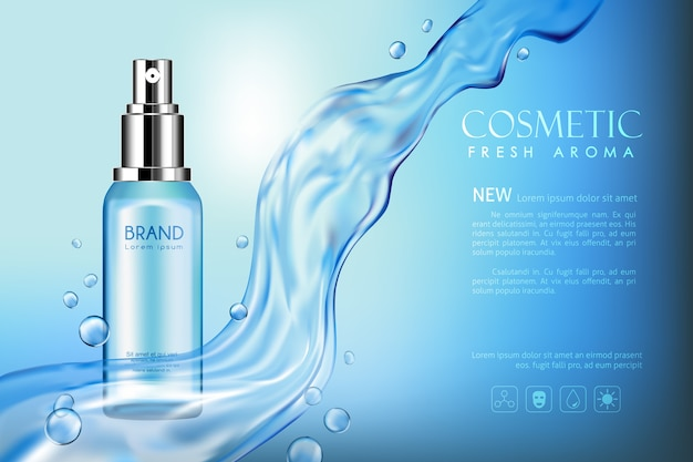 Vector botella fresca aroma cosmética simulacro