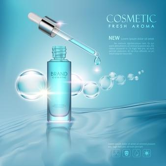 Vector botella tóner cosmético simulado sobre fondo azul.