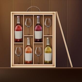 Vector de botellas de vino y copas de vino dentro de la caja de madera en el estante. vista frontal