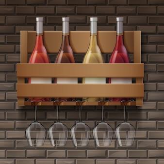 Vector de botellas de vino y copas de vino en el estante de madera en la barra sobre fondo de ladrillos