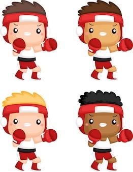 Un vector de boxeadores en diferentes tonos de piel.