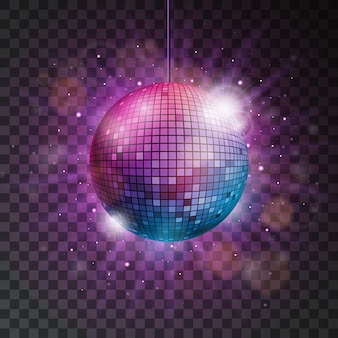 Vector brillante bola de discoteca ilustración sobre un fondo transparente.