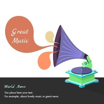 Vector brillante plano viejo gramófono en eps