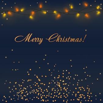 Vector brillantes luces de navidad con iluminación colorida guirnalda y decoraciones doradas