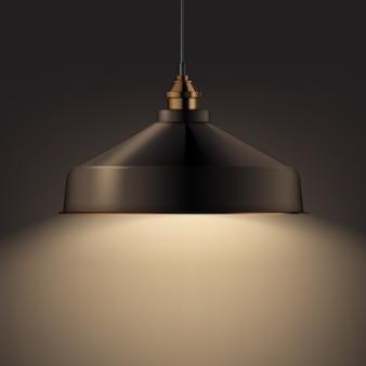 Vector de bronce brillante lámpara de araña frontal, vista lateral de cerca sobre fondo oscuro