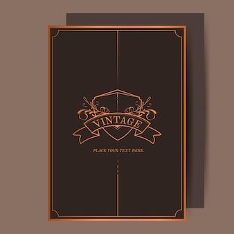 Vector de bronce de la invitación de la boda del art nouveau del vintage