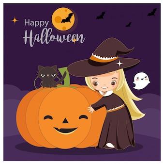 Vector de la bruja linda con el concepto de halloween.