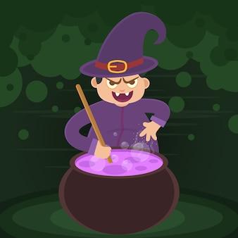 Vector de bruja de niño con ropa púrpura