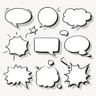 Vector de burbujas de discurso en conjunto de estilo de semitono