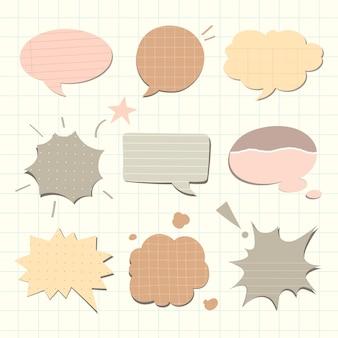 Vector de burbujas de discurso en tono pastel