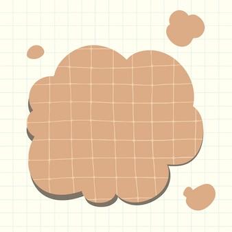 Vector de burbujas de pensamiento en estilo de patrón de papel marrón de cuadrícula