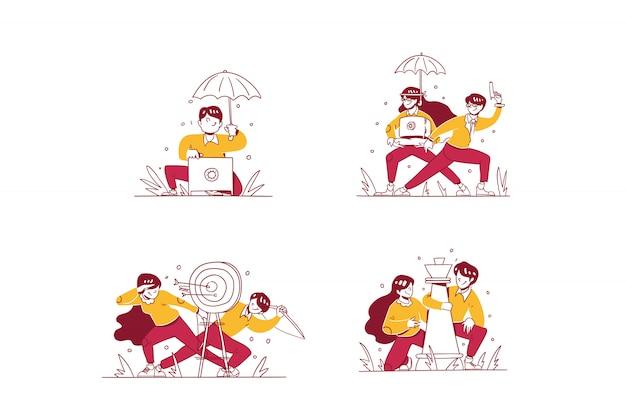 Vector business & finance illustration estilo de diseño dibujado a mano, hombre y mujer haciendo seguridad de dinero en caja de depósito, protección de dinero de agente, mercado objetivo y estrategia de trabajo en equipo