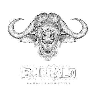 Vector de cabeza de búfalo, ilustración animal realista con estilo dibujado a mano