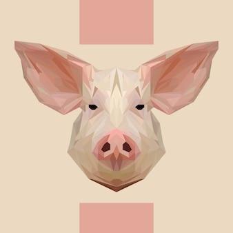 Vector de cabeza de cerdo poligonal baja