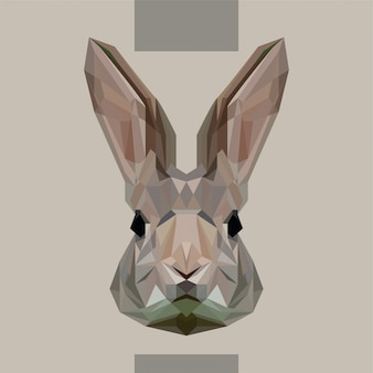 Vector de cabeza de conejo poligonal bajo