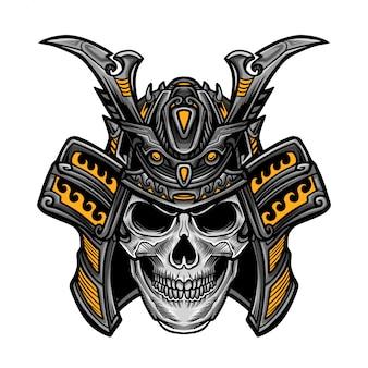 Vector de cabeza de cráneo samurai