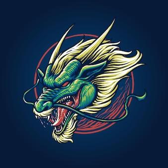 Vector de cabeza de dragón verde chino