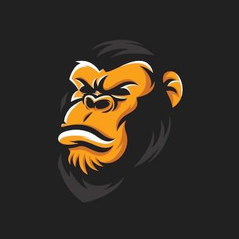 Vector de cabeza de gorila fresco
