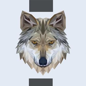 Vector de cabeza de lobo poligonal baja