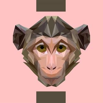 Vector de cabeza de mono poligonal bajo