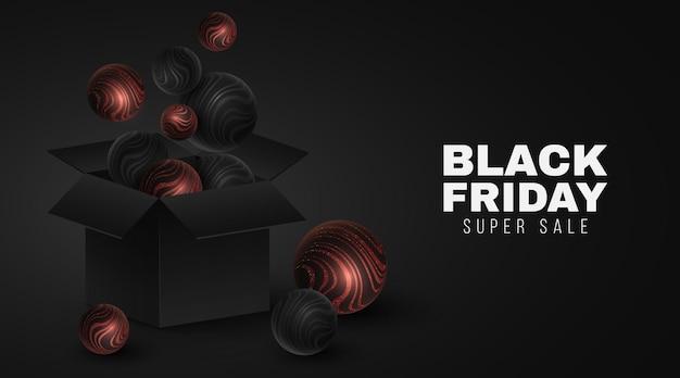 Vector caja abierta de regalo 3d y esferas con patrón de rayas onduladas brillantes rojas para la venta del viernes negro