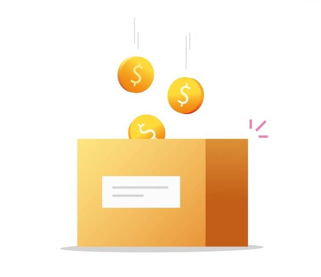 Vector de caja de dinero en efectivo como donación de caridad o ahorro