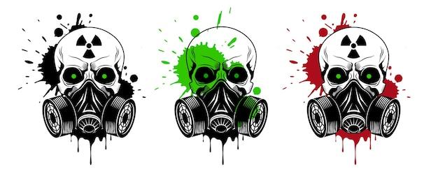 Vector calaveras con máscara de gas, signo de radiación