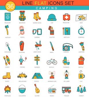 Vector camping línea plana iconos