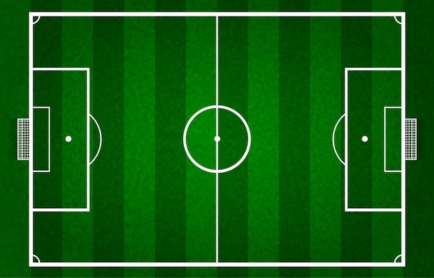 Vector campo de fútbol verde o campo de fútbol, parrilla