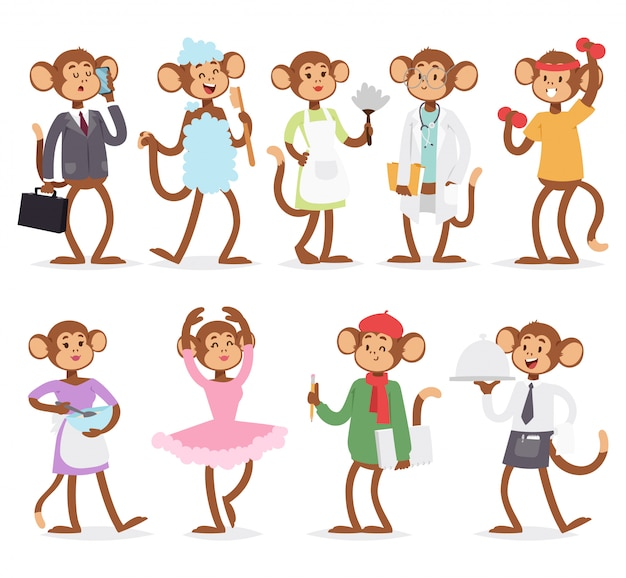 Vector de caracteres de dibujos animados mono personas.