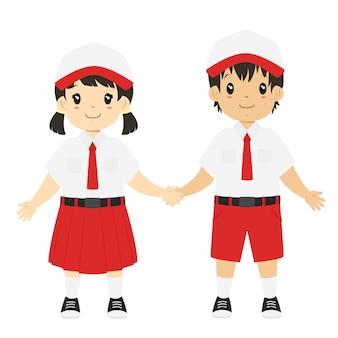 Vector de caracteres de estudiantes de primaria de indonesia