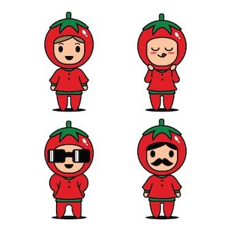 Vector de caracteres lindo tomate