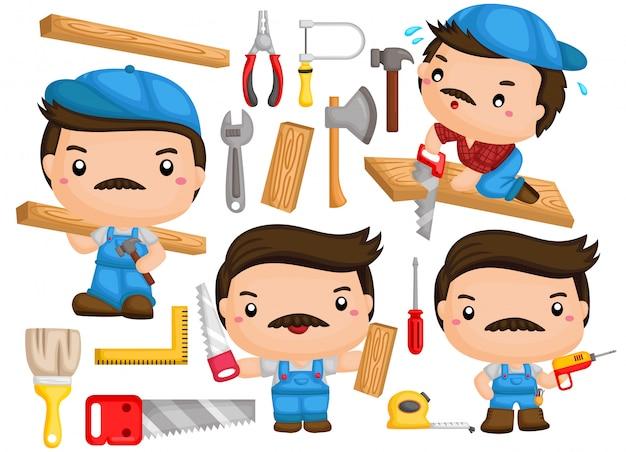 Un vector de un carpintero con muchas poses y herramientas.