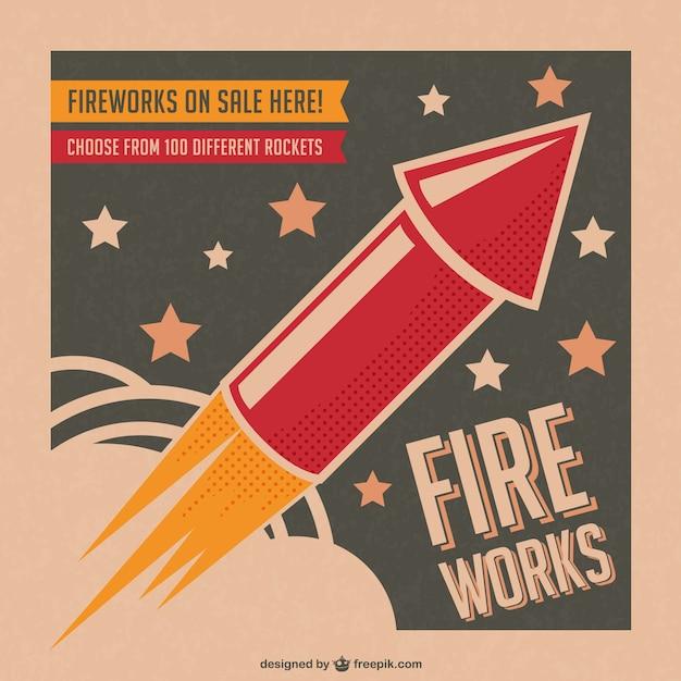 Vector cartel de fuegos artificiales