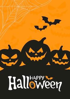 Vector de cartel de halloween con calabazas aterradoras plantilla de ilustración de vector de vacaciones