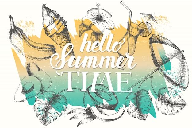 Vector el cartel con los objetos tropicales y del verano en fondo del movimiento del cepillo.