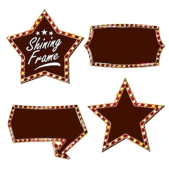 Vector de cartelera de estrellas. tablero de la muestra de luz brillante. realistic shine lamp frame. carnaval, circo, estilo casino. ilustración aislada