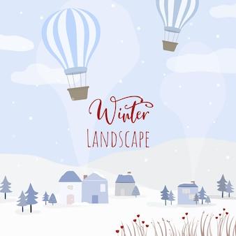 Vector de casas, globos y bosques nevados.