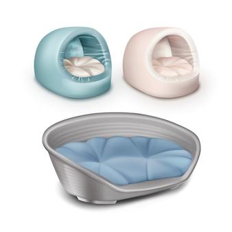 Vector de casas para mascotas suaves y camas de plástico para perros aisladas sobre fondo blanco
