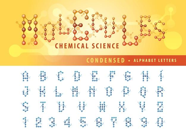 Vector de la célula de la molécula abstracta letras del alfabeto y números, fuentes condensadas