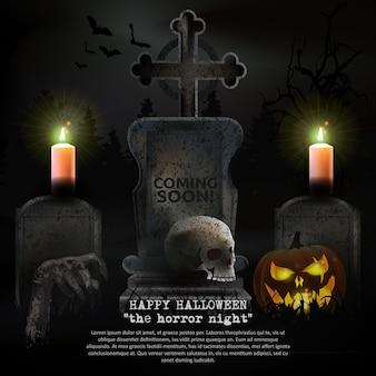 Vector de cementerio de halloween espeluznante