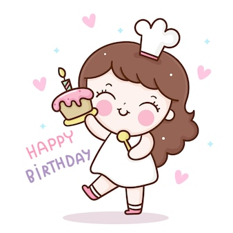 Vector de chef linda chica con personaje de kawaii de dibujos animados de cupcake de cumpleaños