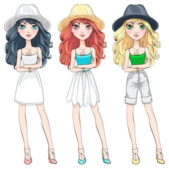 Vector chica de moda hermosa con sombrero