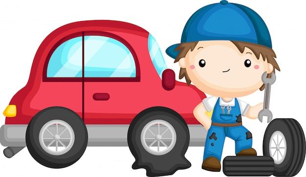 Un vector de un chico arreglando un neumático