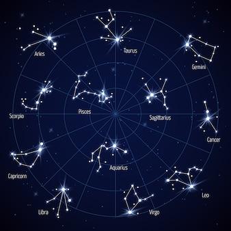 Vector cielo mapa de estrellas con constelaciones de estrellas